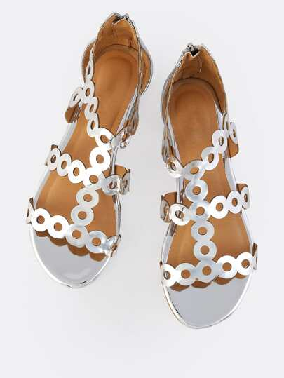 Patent Circular Sandals SILVER