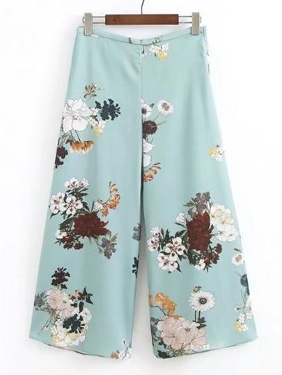 Модные широкие брюки с цветочным принтом