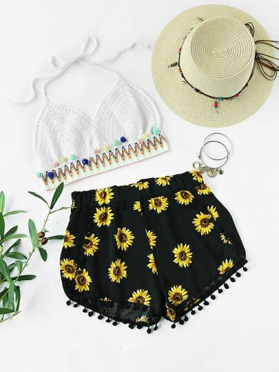 Sunflower Printed Pom Pom Hem Shorts