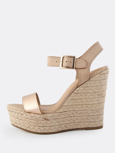 Two Tone Metallic Wedges ROSE GOLD