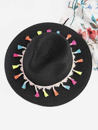 Stroh Fedora Hut mit Quaste