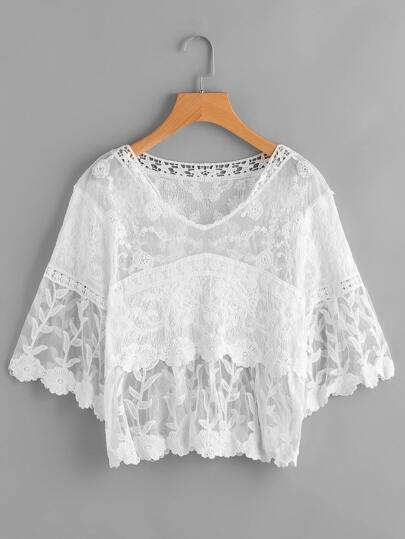 Lace Panel Embroidery Cover Up