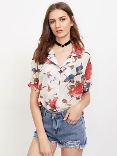 Blusa de gasa con estampado floral
