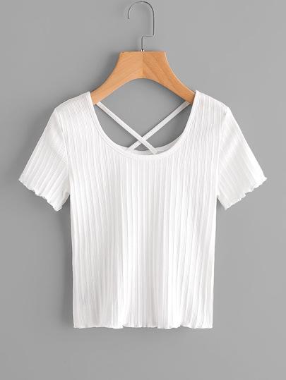T-shirt a coste con incrocio sul retro