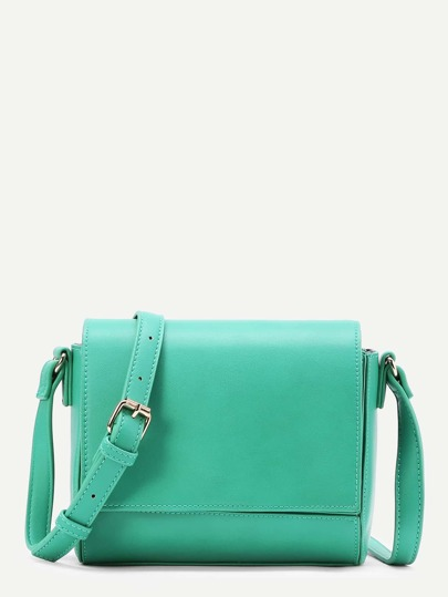 PU Flap Crossbody Bag With Adjustable Strap