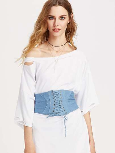 Criss Cross Denim Corset Belt