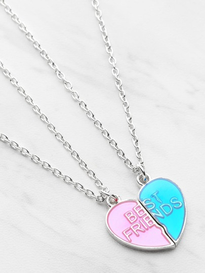 Two Tone Heart Shaped Friendship Pendant Necklace Set