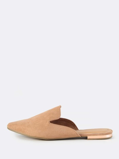 Faux Suede Closed Toe Slip Ons CAMEL