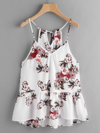 Top camisole peplo con stampa di fiore
