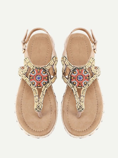 Beaded Embellished Toe Post Sandals