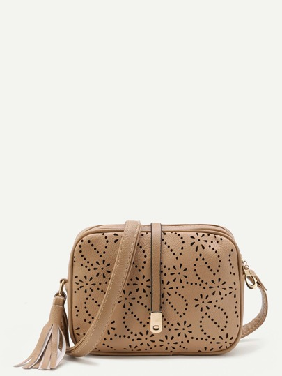 Laser Cut Crossbody Bag With Tassel
