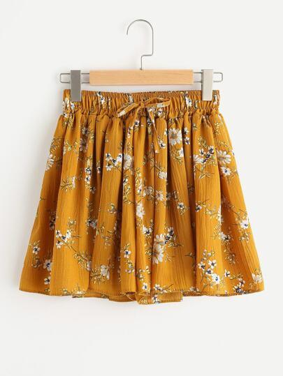 Shorts de cintura elástica con cordón con estampado de margarita de los prados