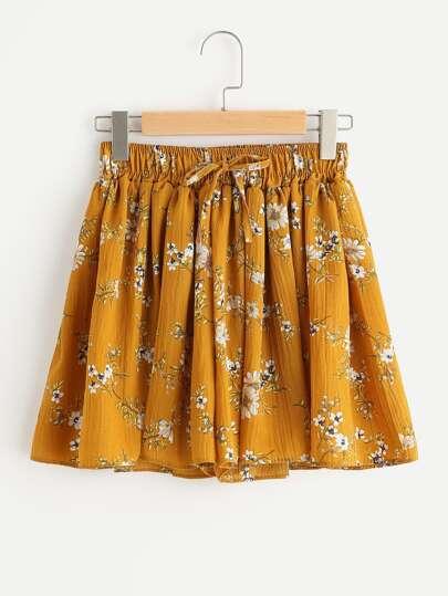 Ditsy Print Elastic Drawstring Waist Shorts