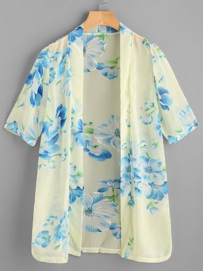 Kimono in chiffon con stampa flreale