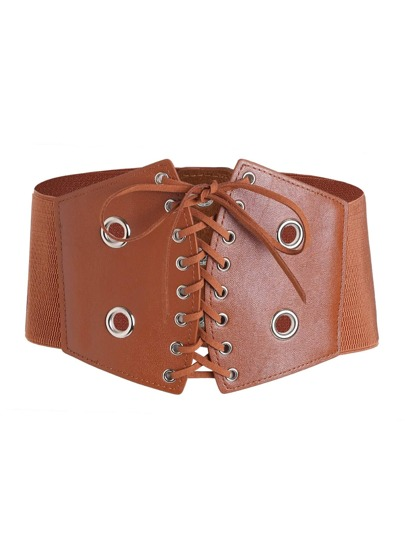 Grommet Lace Up Elastic Wide Belt
