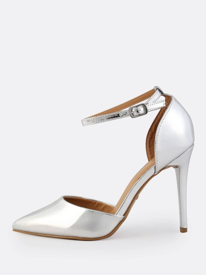 Point Toe Ankle Strap Stiletto Heels SILVER