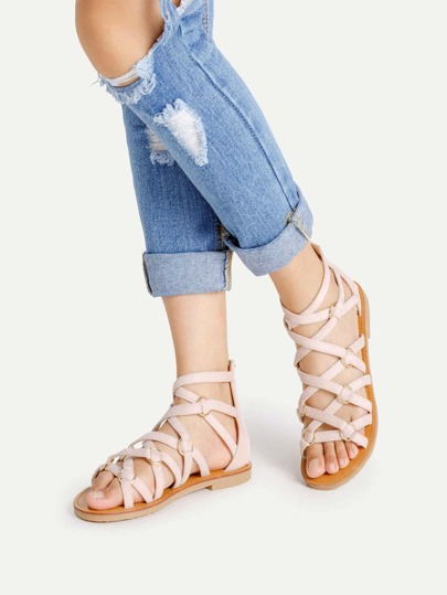 Zipper Back Strappy PU Flat Sandals
