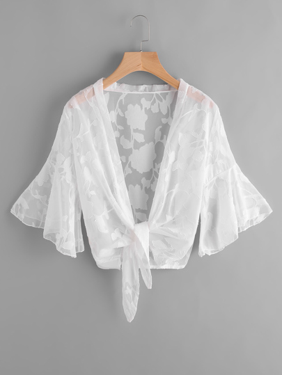Kimono playero fino de malla de manga campanuda