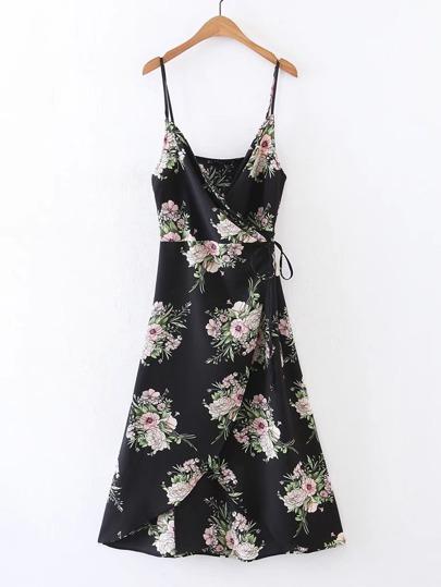 Cami Straps Overlap Front Wrap Dress