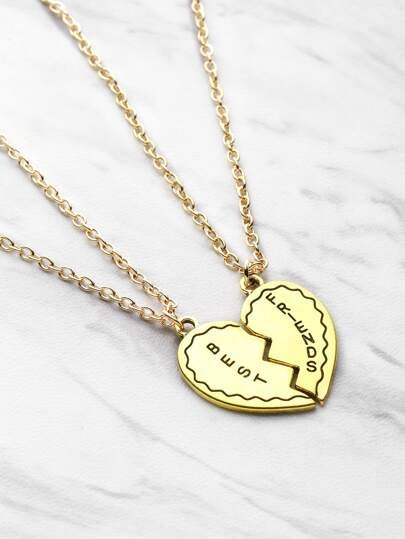 Collier pendentif amitié en forme du cœur 2pièces