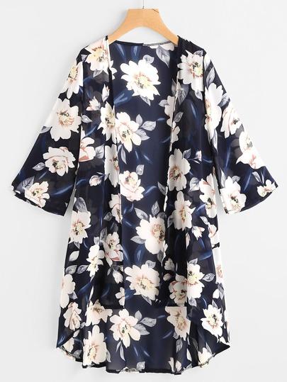 Kimono mousseline imprimé fleuri