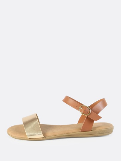 Metallic Faux Leather Flat Sandals GOLD