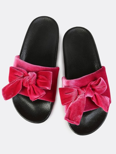 Bow Velvet Slip On Slides FUSCIA