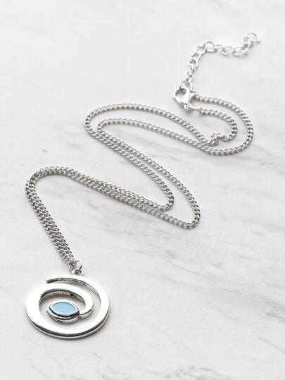 Gemstone Detail Cute Tadpole Pendant Necklace