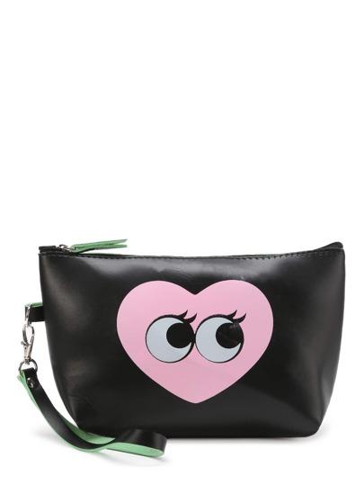 PU Makeup Tasche mit Herz und Augen Muster