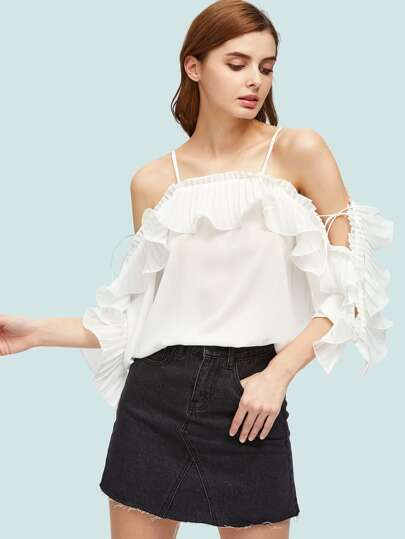 Cold Shoulder Exaggerated Frill Trim Top