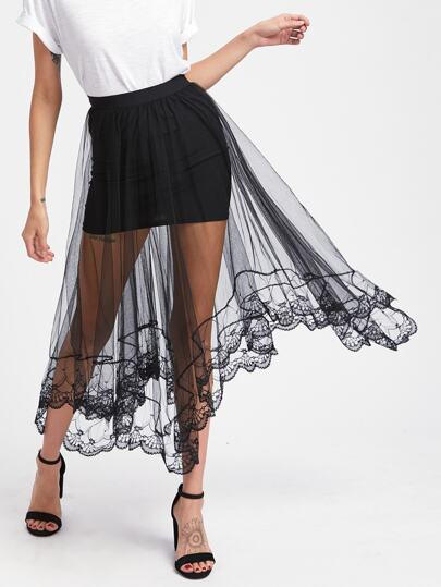 Falda cubrida de malla