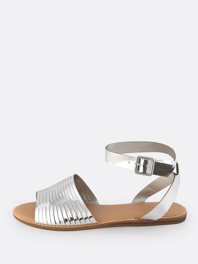 Patent Slit Flat Sandals SILVER