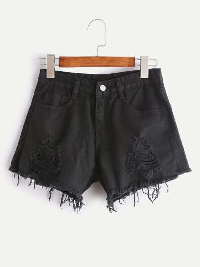 Shorts Chambray roto de borde crudo