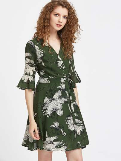 Surplice Front Fluted Sleeve Self Tie Dress