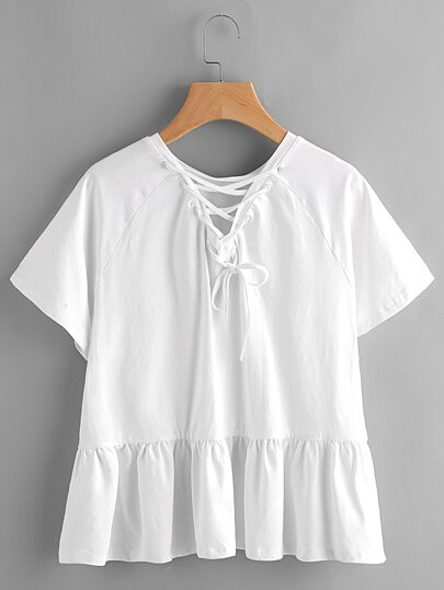 Raglan Sleeve Lace Up Back Tiered T-shirt