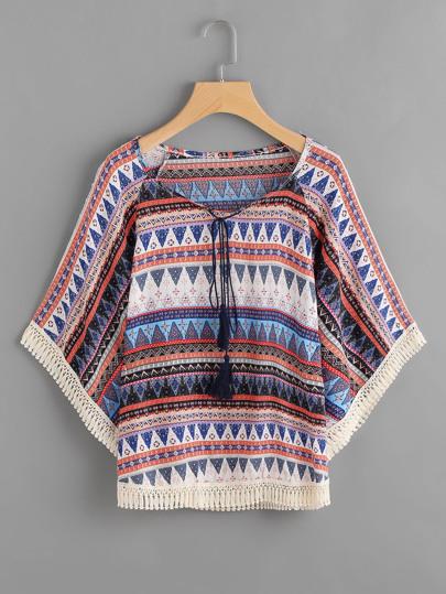 Aztec Print Tassel Tie Neck Crochet Trim Top
