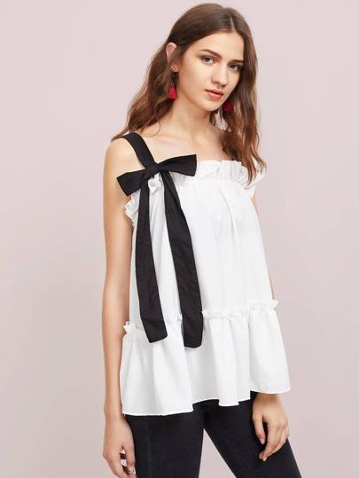 Camisole péplum contrastée à bretelle avec des plis