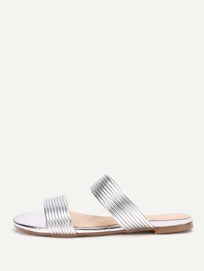 Metallic Striped Slide Flat Sandals
