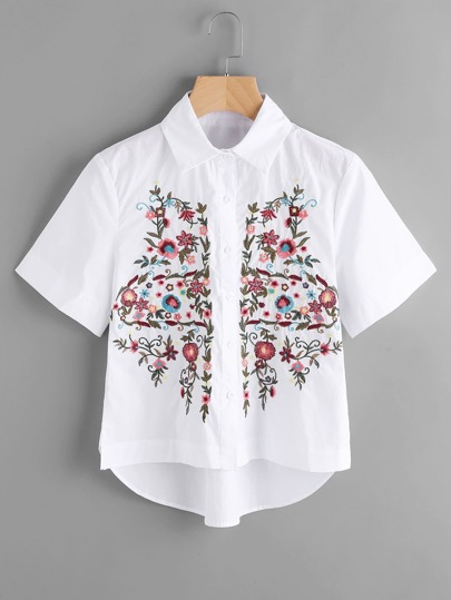 Flower Embroidery Short Sleeve Blouse