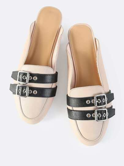 Backless Double Buckle Slip On Flats NUDE