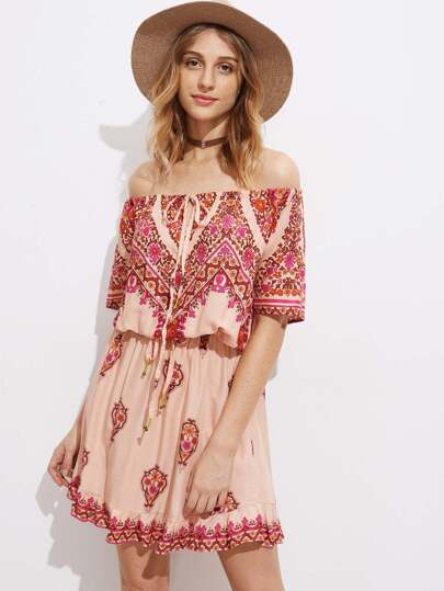 Bardot Drawstring Waist Ruffle Hem Dress