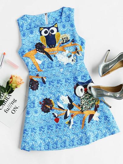 Owl Print Zipper Back Tank Dress