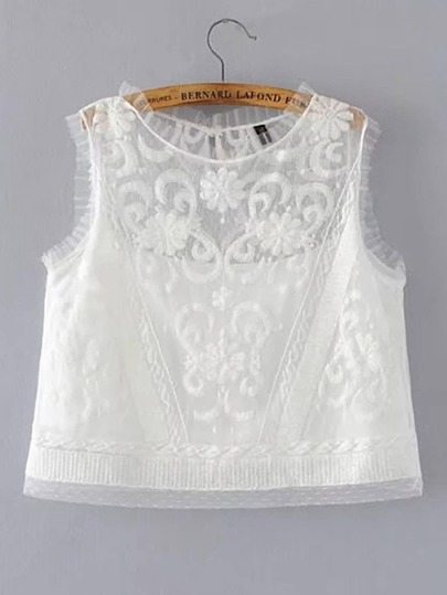 Band Collar Sleeveless Lace Top