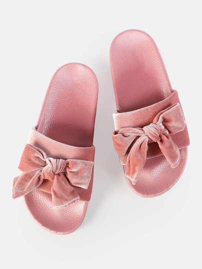 Velvet Bow Slides BLUSH