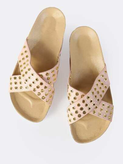 Grommet Cross Band Sandals PINK