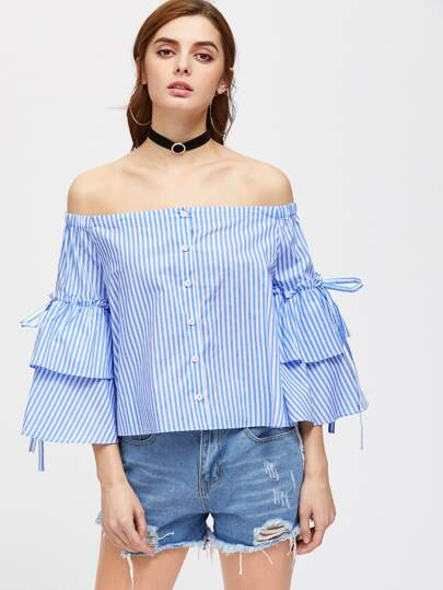 Button Up Layered Bell Sleeve Striped Bardot Top