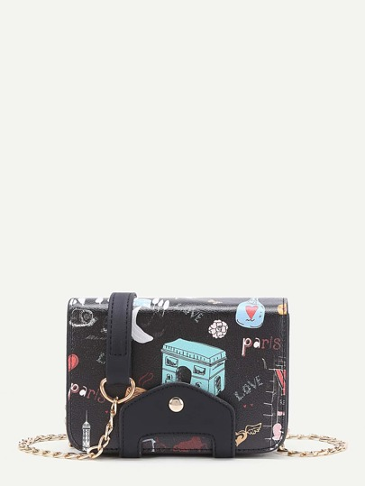 Cartoon Print PU Chain Bag
