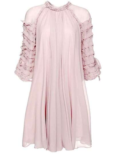 Ruffle Sleeve Pleated Dress