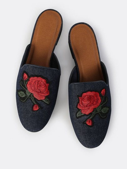 Rosed Embroidered Denim Slip On Loafers DARK BLUE