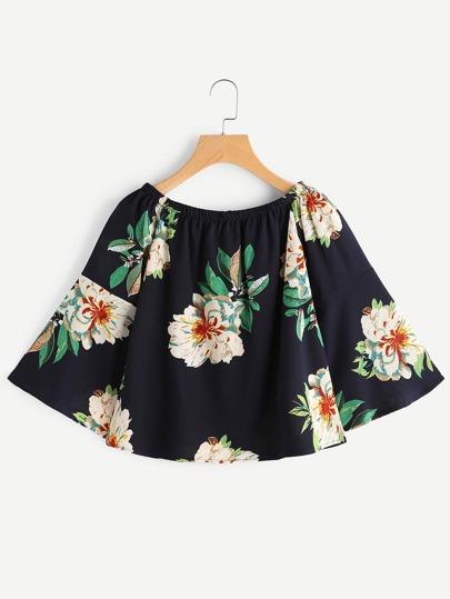 Boat Neckline Floral Print Bell Sleeve Top